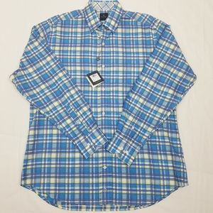 NWT Tailorbyrd Blue/Green Plaid Button Down Large